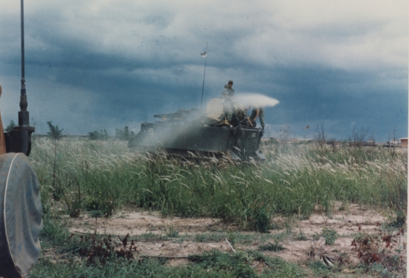 U.S. Army armored personnel carrier spraying Agent Orange during the Vietnam War. Source: Admiral Elmo R. Zumwalt, Jr. Collection: Agent Orange Subject Files, The Vietnam Archive, Texas Tech University.