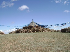 Sacred oboo called Tsagaan chuluut (White stone). Near Arbulag soum of Khövsgöl aimag. The oboo has been worshipped since the sixteenth century by Khotgoids, an ethnic group in Mongolia.