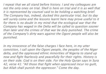 Final Statement by Ken Saro-Wiwa