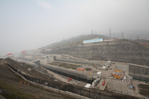 Five-level ship lock at the Three Gorges Dam, Yichang, 2012. Photograph: Martin Meiske.