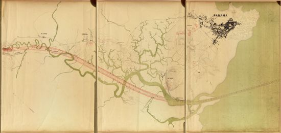 Historical map of the proposed Panama Canal showing the natural course of Rio Grande (green) and the planned piercing (red). Image: L. Gourtier, undated (Library of Congress).