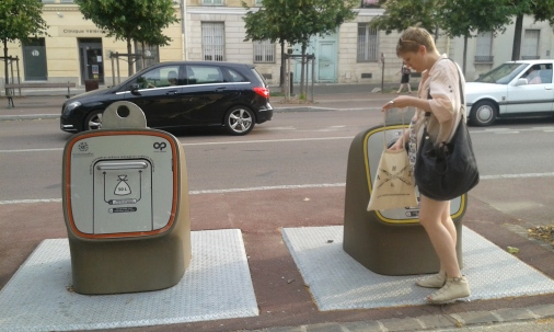 Research Associate Susanne Darabas dividing waste into public recycling boxes in Versailles. Photograph: Stephanie Hood.