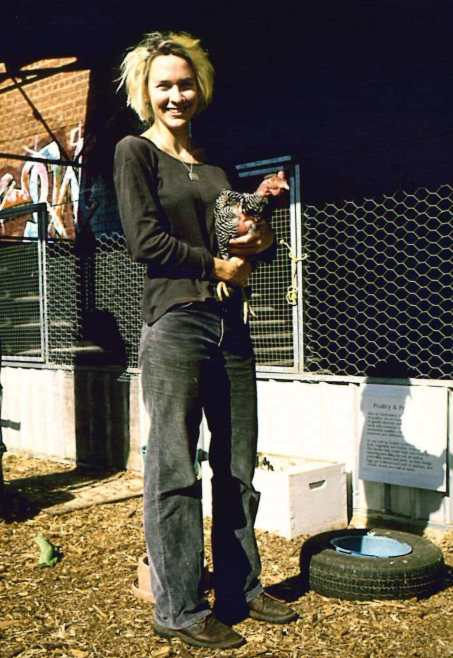 AG with chook at city farm