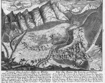 Map of Leukerbad, Switzerland, and environs. Photograph: Sarah Strauss, 2001 [etching 1769].