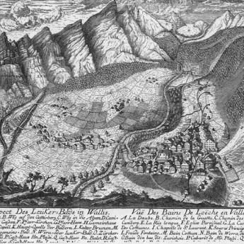 Map of Leukerbad, Switzerland, and environs. Photograph: Sarah Strauss, 2001 [etching 1769].