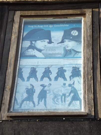 A commemorative poster celebrating 100 years since the battle at Jena/Auerstedt against Napoleon. Photograph: Adrian Franco.
