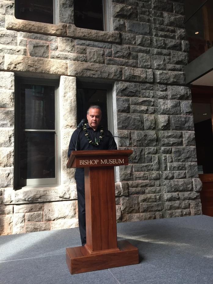 Josh Reid gives the keynote address in the Biship Museum's Hawaiian Hall