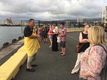 The group on a tour of Honolulu's whaling history