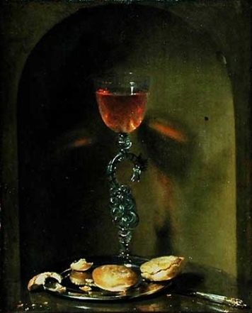 Isaac Luttichuys, Still life with bread and wine