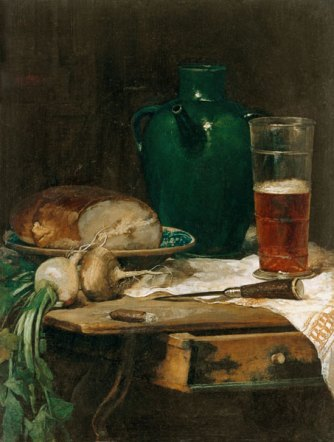 Ludwig Eibl, Still life with bread and beer