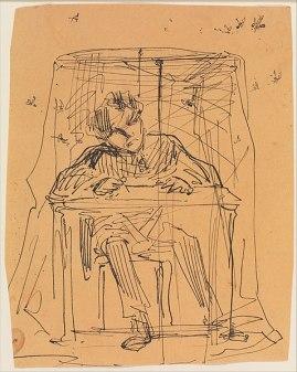 Man at Table beneath Mosquito Net. James Abbott McNeill Whistler, 1854-55. Public domain, via wikimedia commons.
